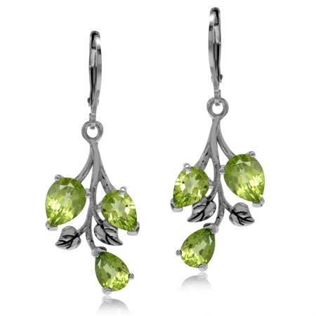 5.52ct. Natural Peridot 925 Sterling Silver Leaf Leverback Dangle Earrings