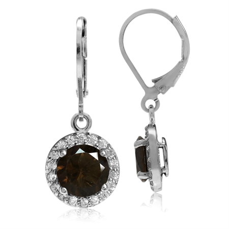 2.22ct. 7MM Natural Round Shape Smoky Quartz 925 Sterling Silver Halo Leverback Earrings