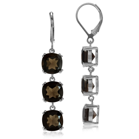 11.76ct. 3-Stone Natural Smoky Quartz 925 Sterling Silver Leverback Dangle Earrings