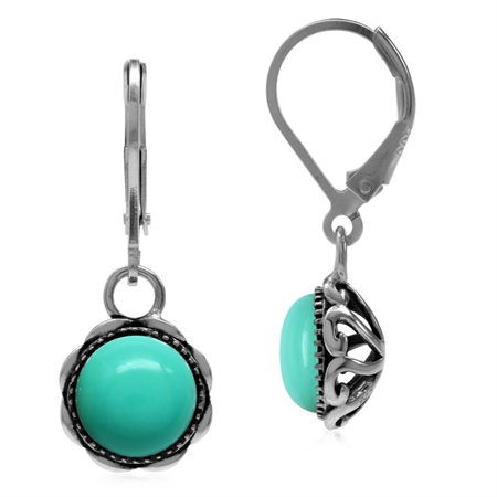 Created Green Turquoise 925 Sterling Silver Filigree Leverback Dangle Earrings