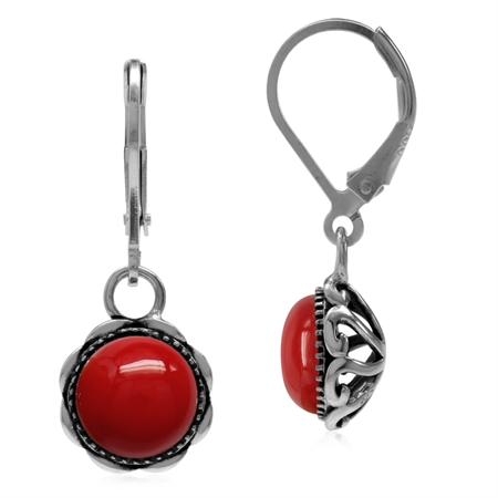 Created Red Coral 925 Sterling Silver Filigree Leverback Dangle Earrings