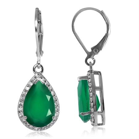 5.26ct. Natural Emerald Green Agate & White Topaz 925 Sterling Silver Drop Dangle Leverback Earrings