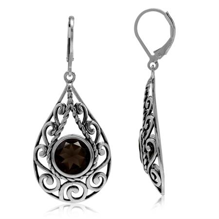5.34ct. Natural Smoky Quartz 925 Sterling Silver Filigree Swirl&Spiral Drop Shape Leverback Earrings