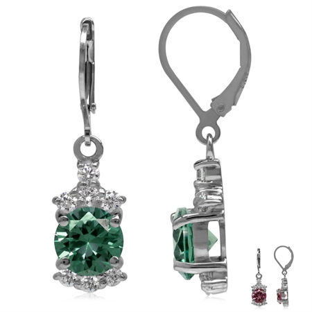8MM Round Shape Simulated Color Change Alexandrite & White CZ 925 Sterling Silver Leverback Earrings