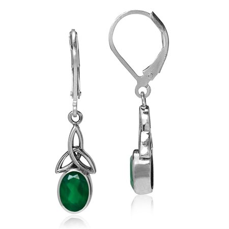1.44ct. Natural Emerald Green Agate 925 Sterling Silver Triquetra Celtic Knot Leverback Earrings