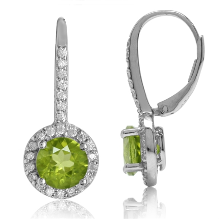 2.84ct. 7MM Natural Round Peridot White Gold Plated 925 Sterling Silver Halo Leverback Earrings