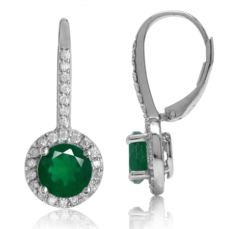 2.32ct. 7MM Natural Round Shape Emerald Green Agate 925 Sterling Silver Halo Leverback Earrings