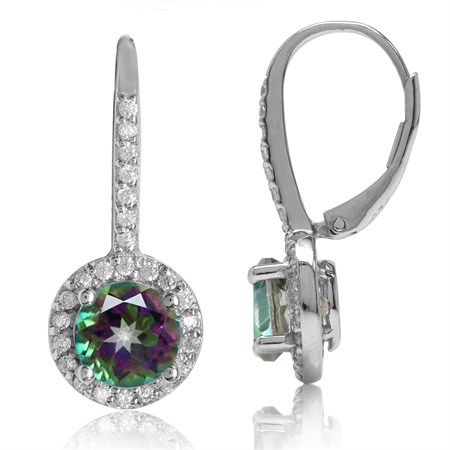 3.32ct. 7MM Round Mystic Fire Topaz White Gold Plated 925 Sterling Silver Halo Leverback Earrings