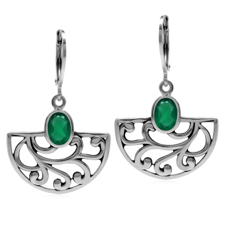 Natural Emerald Green Agate 925 Sterling Silver Filigree Swirl&Spiral Semi Circle Leverback Earrings