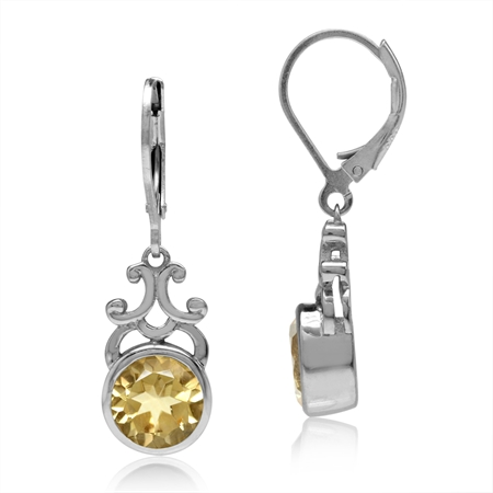 3.84ct. 8MM Natural Round Shape Citrine 925 Sterling Silver Filigree Swirl Leverback Dangle Earrings