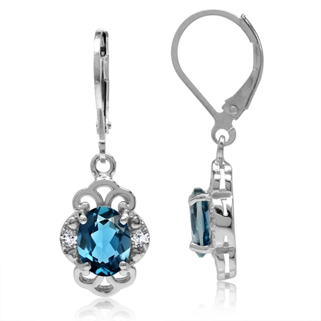 3ct. Genuine London Blue Topaz White Gold Plated 925 Sterling Silver Filigree Leverback Earrings