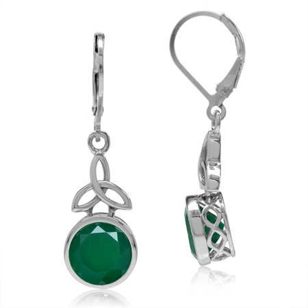 4.88ct. 9MM Natural Emerald Green Agate 925 Sterling Silver Triquetra Celtic Knot Leverback Earrings