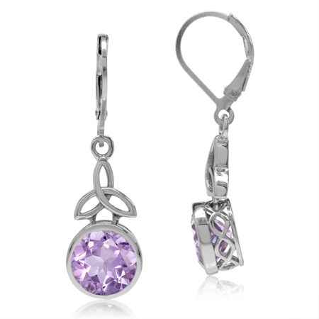 5.08ct. 9MM Natural Amethyst 925 Sterling Silver Triquetra Celtic Knot Leverback Dangle Earrings