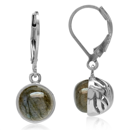 8MM Round Shape Labradorite White Gold Plated 925 Sterling Silver Leverback Dangle Earrings
