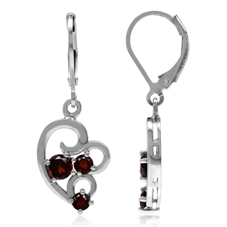 1.28ct. 3-Stone Natural Garnet White Gold Plated 925 Sterling Silver Leverback Dangle Earrings