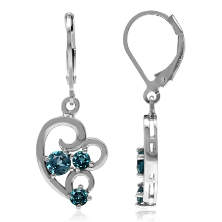 1.16ct. 3-Stone Genuine London Blue Topaz White Gold Plated 925 Sterling Silver Leverback Earrings
