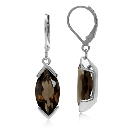 6.98ct 16x8MM Natural Marquise Smoky Quartz White Gold Plated 925 Sterling Silver Leverback Earrings