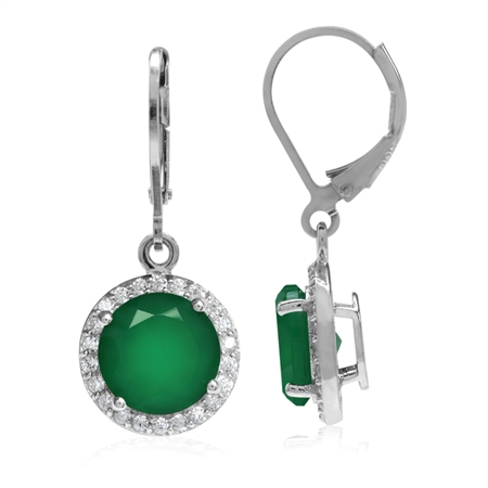 4.88ct. 9MM Natural Round Emerald Green Agate 925 Sterling Silver Halo Leverback Dangle Earrings