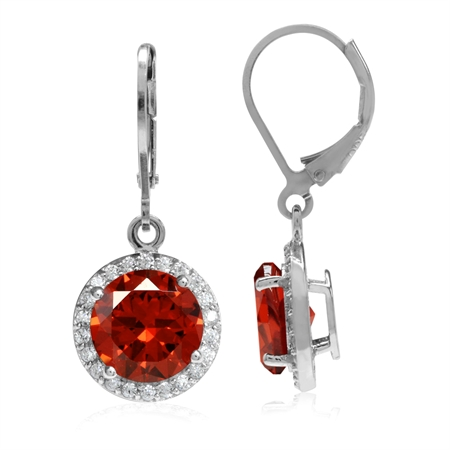 9MM Round Shape Orange & White CZ Gold Plated 925 Sterling Silver Halo Leverback Dangle Earrings