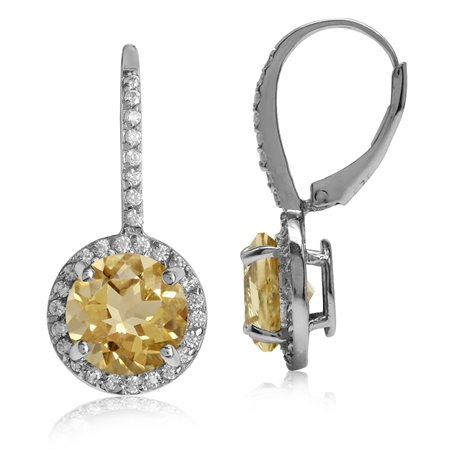 4.86ct 9MM Natural Round Shape Citrine White Gold Plated 925 Sterling Silver Halo Leverback Earrings