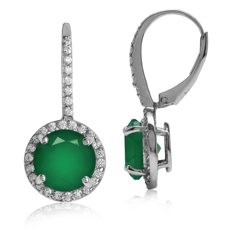 4.88ct. 9MM Natural Round Shape Emerald Green Agate 925 Sterling Silver Halo Leverback Earrings