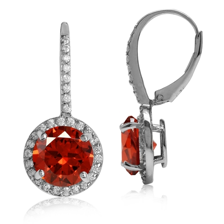 9MM Round Shape Orange & White CZ Gold Plated 925 Sterling Silver Halo Leverback Earrings