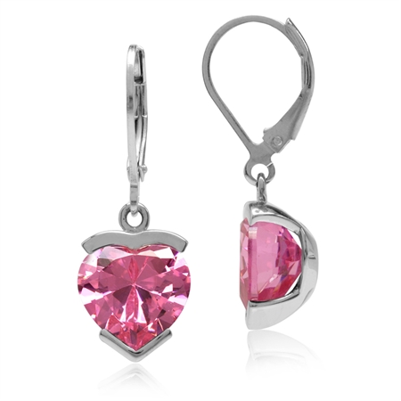 10MM Heart Shape Pink CZ White Gold Plated 925 Sterling Silver Leverback Dangle Earrings