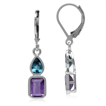 Natural Amethyst & London Blue Topaz White Gold Plated 925 Sterling Silver Leverback Dangle Earrings