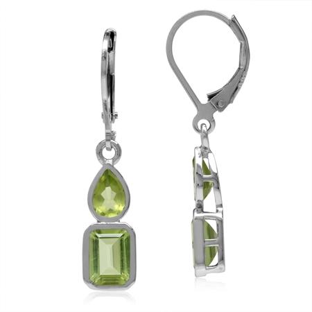 Natural Green Peridot & Arizona Peridot White Gold Plated 925 Sterling Silver Leverback Earrings