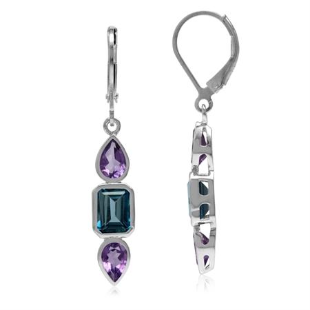 2.46ct. Genuine London Blue Topaz & Amethyst 925 Sterling Silver Leverback Dangle Earrings