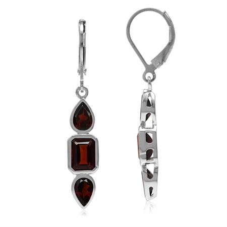 4.4ct. Natural Garnet White Gold Plated 925 Sterling Silver Leverback Dangle Earrings