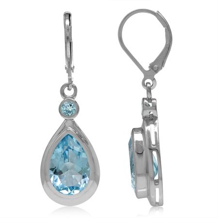 12x8MM Genuine Pear Shape Blue Topaz & Swiss Blue Topaz 925 Sterling Silver Drop Leverback Earrings