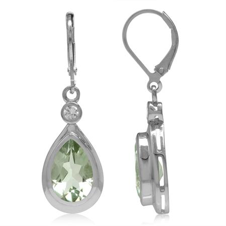 12x8MM Natural Pear Shape Green Amethyst & White Topaz 925 Sterling Silver Drop Leverback Earrings