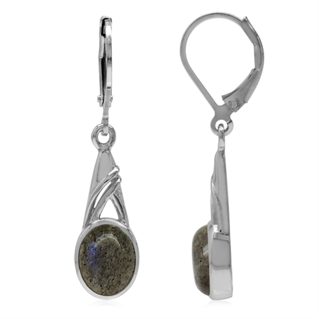 9x7MM Oval Shape Labradorite White Gold Plated 925 Sterling Silver Leverback Dangle Earrings