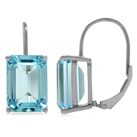 18.08ct. 14x10MM Genuine Octagon Shape Blue Topaz 925 Sterling Silver Leverback Earrings