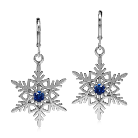 Synthetic Blue Sapphire 925 Sterling Silver Snowflake Leverback Earrings