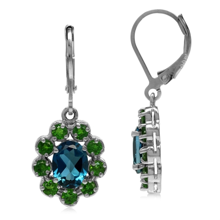 3.2 CT London Blue Topaz & Chrome Diopside 925 Sterling Silver Lever Back Cluster Earrings