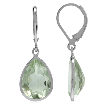 Genuine 9 CT Green Amethyst 925 Sterling Silver Lever back Drop Dangle Earrings