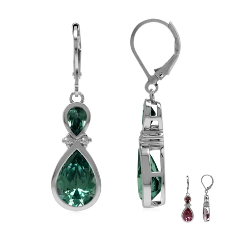 6 Ctw Created Color Change Alexandrite 925 Sterling Silver Dangle Hook Drop Earrings