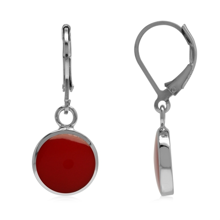 Created 10 mm Round Red Coral Inlay 925 Sterling Silver Basic Leverback Dangle Earrings