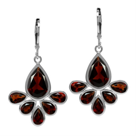 Natural Red Garnet Stone 925 Sterling Silver Fan Shape Leverback Drop Earrings
