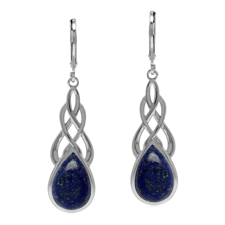 Natural Blue Lapis Lazuli Stone 925 Sterling Silver Celtic Knot Weave  Leverback Dangle Earrings
