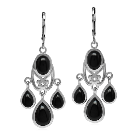 Natural Black Onyx Stone 925 Sterling Silver Chandelier Leverback Earrings