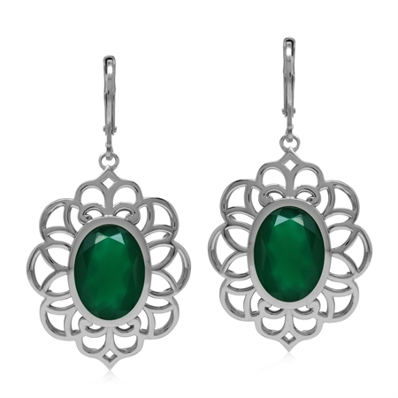 Big Bold Boho 9 Ct Genuine Emerald Green Agate 925 Sterling Silver Dangle Earrings