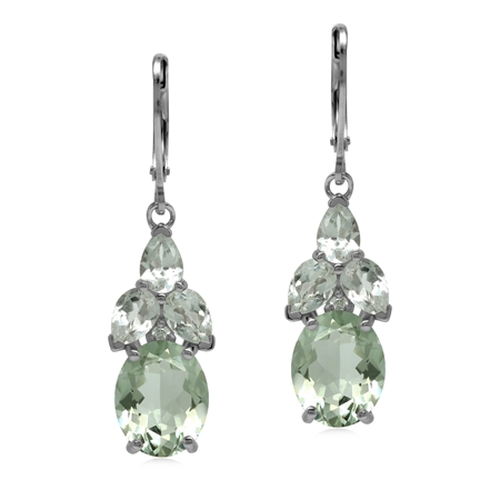 Classic Natural Green Amethyst Gem 925 Sterling Silver Drop Cluster Earrings