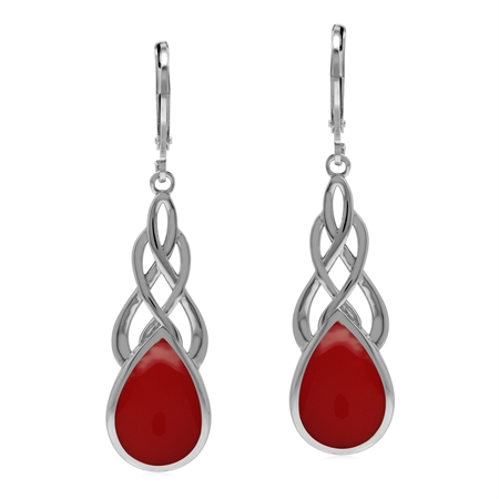 Celtic Style Weave Knot 925 Sterling Silver Drop Earrings with Created Red Coral