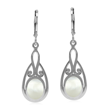 Vintage Inspired 925 Sterling Silver Leverback Drop Earrings with Natural White Mother Of Pearl