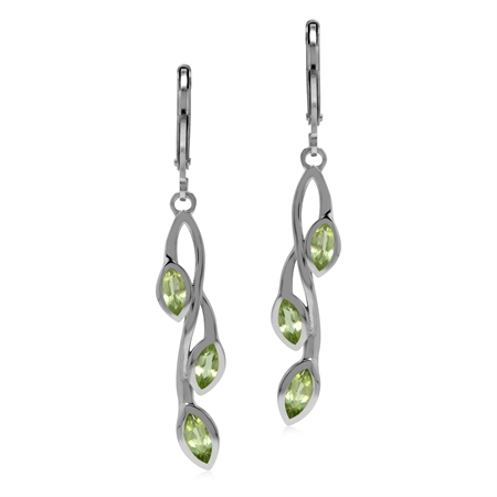 Natural Peridot 925 Sterling Silver Leverback Leaf Vine Long Dangle Earrings