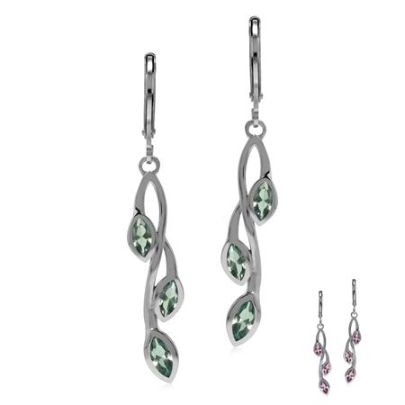 Created Color Change Alexandrite 925 Sterling Silver Leaf Vine Long Dangle Leverback Earrings