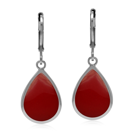 Drop Shape 14x10 mm Created Red Coral Inlay 925 Sterling Silver Leverback Dangle Summer Earrings